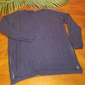 Talbots Blue Sweater Medium Cable Knit Tunic Long